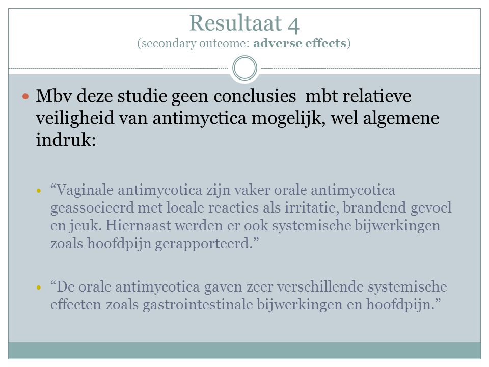 Resultaat 4 (secondary outcome: adverse effects)