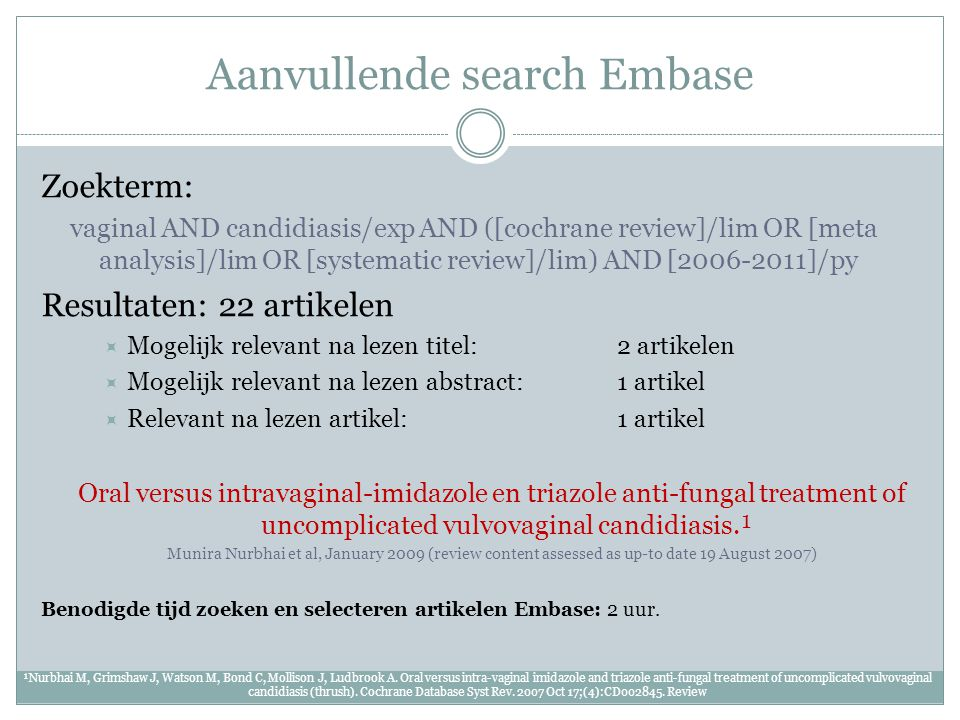 Aanvullende search Embase