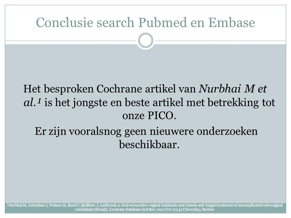 Conclusie search Pubmed en Embase