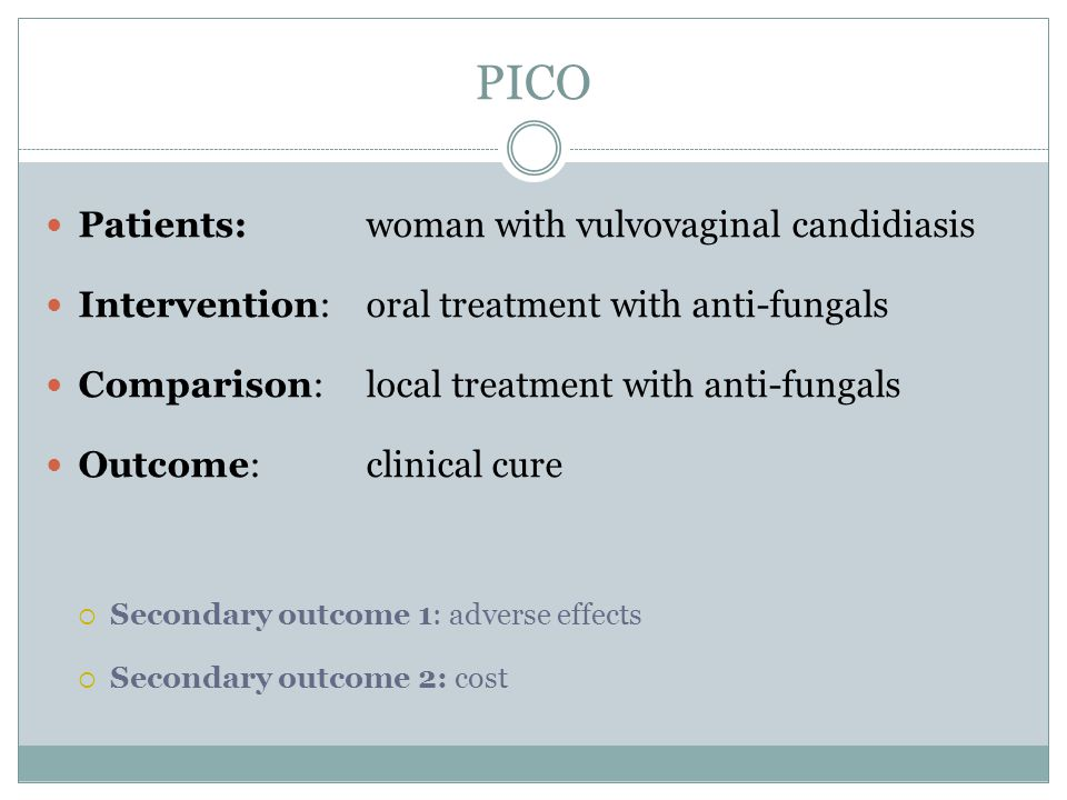 PICO Patients: woman with vulvovaginal candidiasis