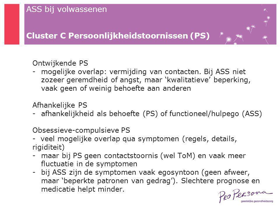Cluster C Persoonlijkheidstoornissen (PS)