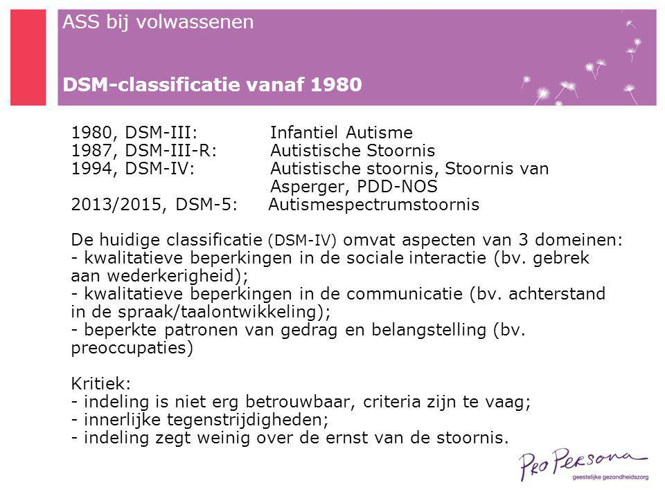 DSM-classificatie vanaf 1980