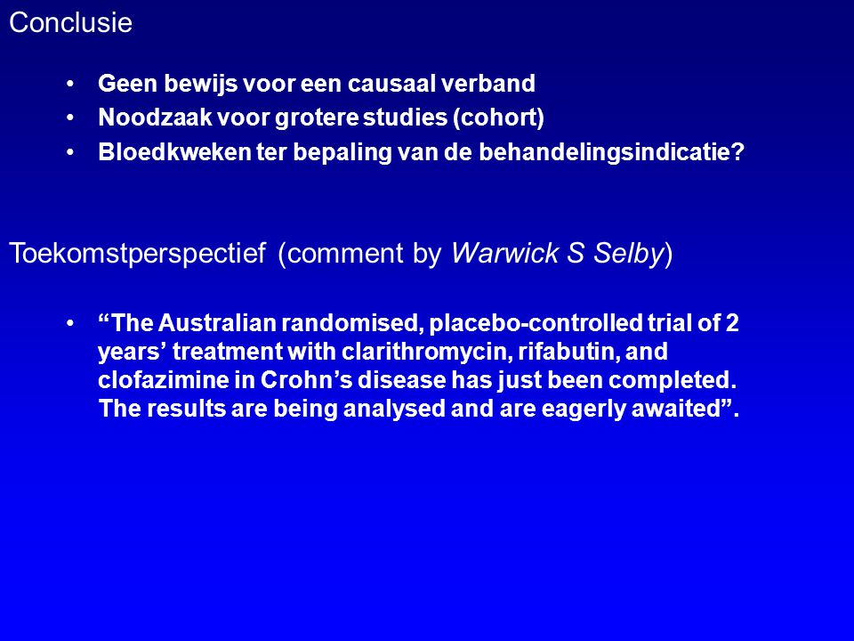 Toekomstperspectief (comment by Warwick S Selby)