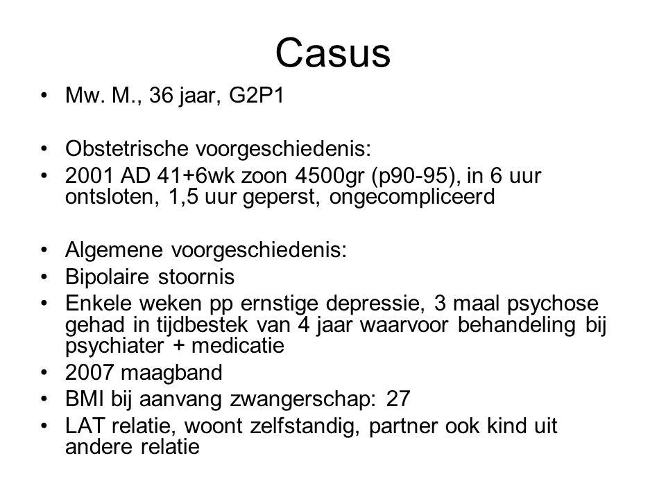 Casus Mw. M., 36 jaar, G2P1 Obstetrische voorgeschiedenis:
