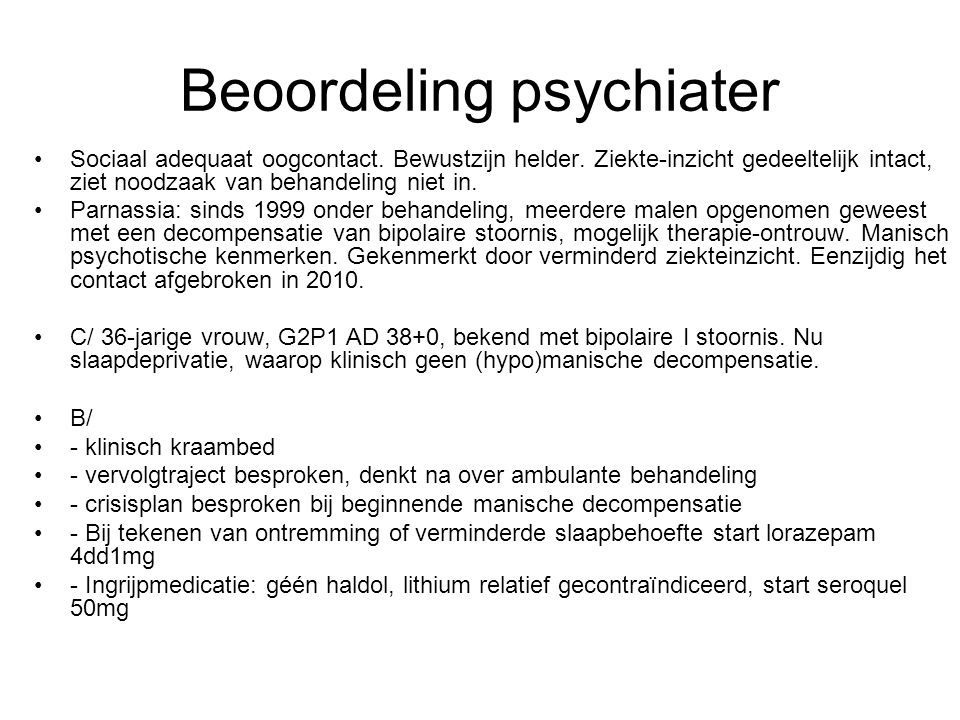 Beoordeling psychiater