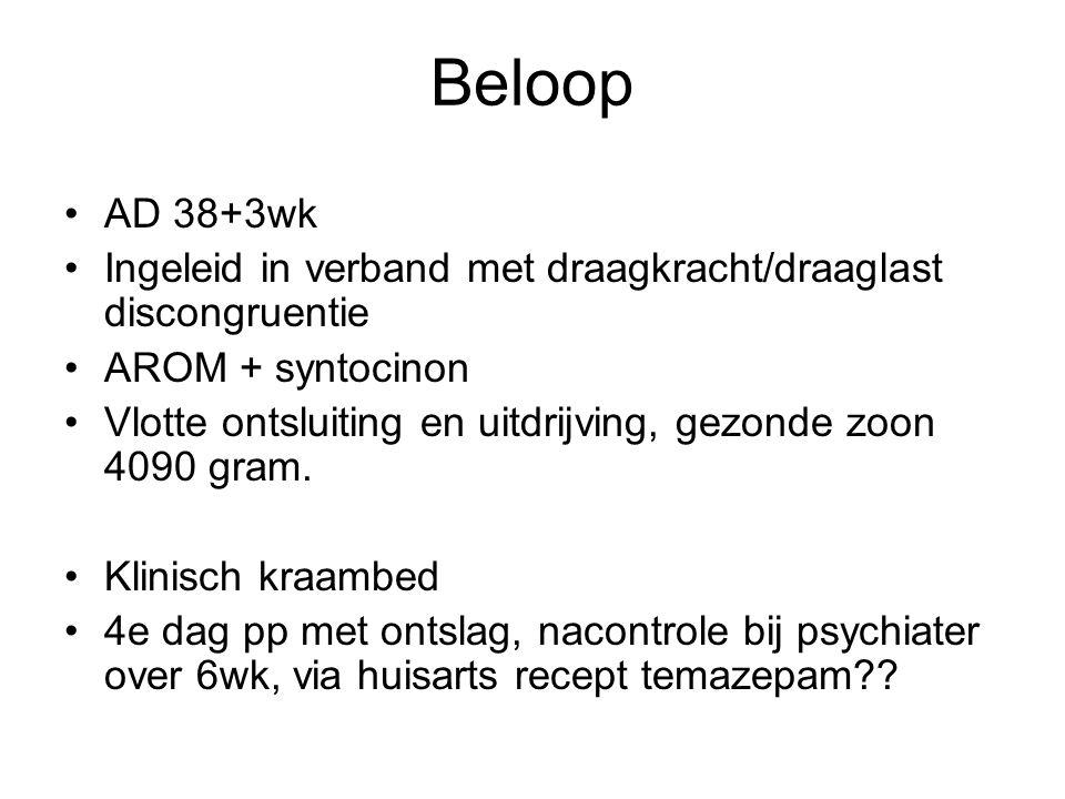 Beloop AD 38+3wk. Ingeleid in verband met draagkracht/draaglast discongruentie. AROM + syntocinon.