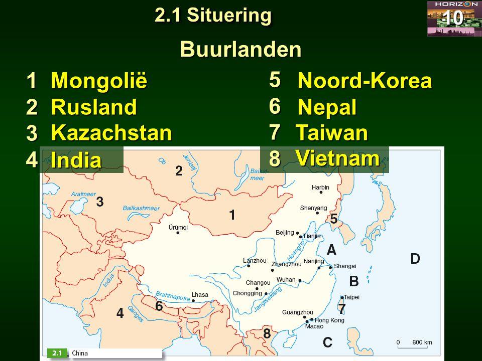 Buurlanden 1 2 3 4 Mongolië 5 6 7 8 Noord-Korea Rusland Nepal