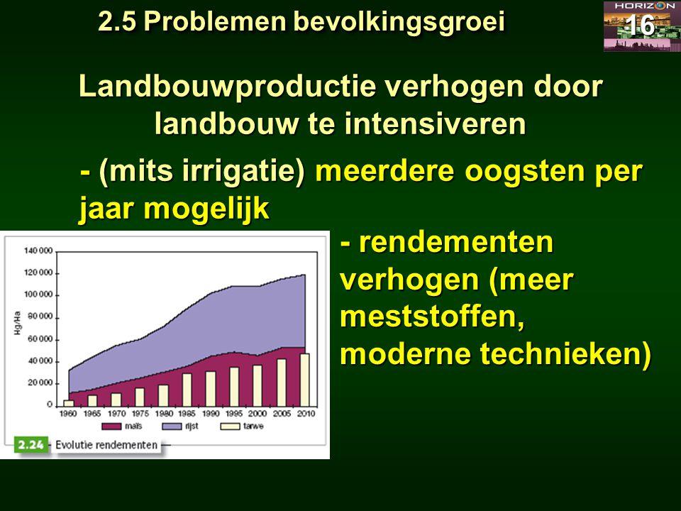 Landbouwproductie verhogen door landbouw te intensiveren