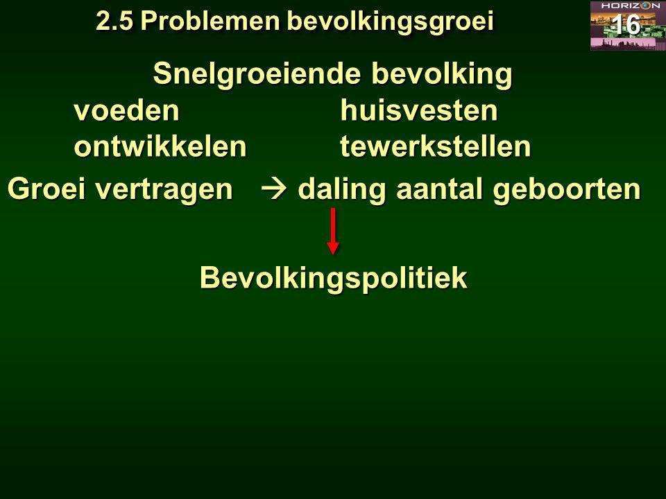 2.5 Problemen bevolkingsgroei Snelgroeiende bevolking
