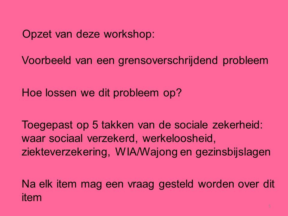 Opzet van deze workshop: