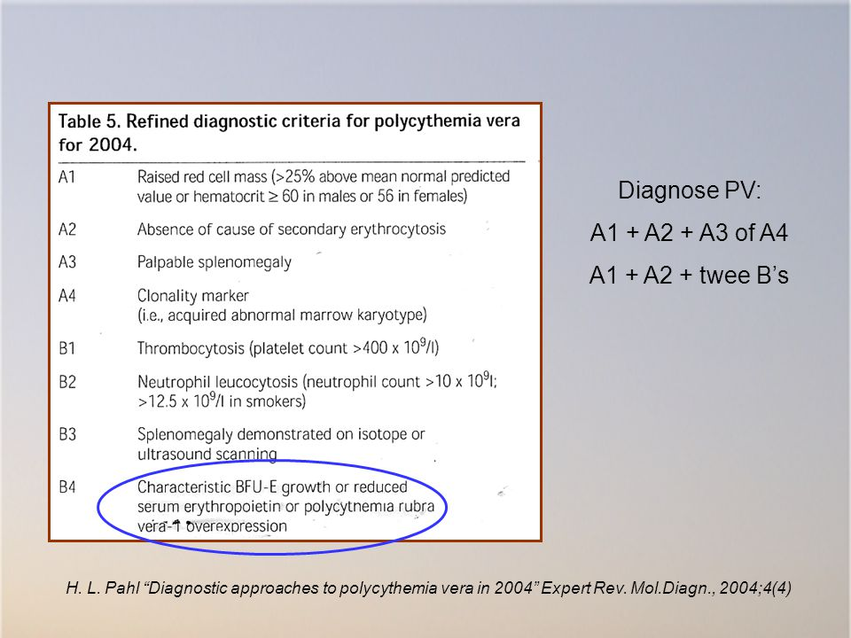 Diagnose PV: A1 + A2 + A3 of A4 A1 + A2 + twee B's