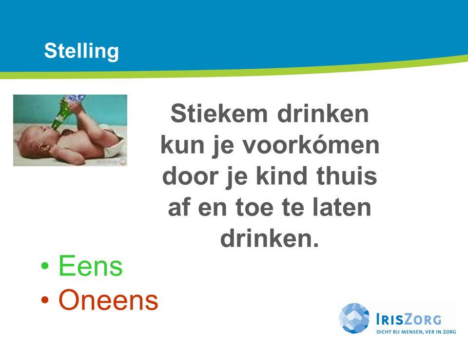 Stelling Stiekem drinken kun je voorkómen door je kind thuis af en toe te laten drinken. Ad.1: Positief over deze stelling: