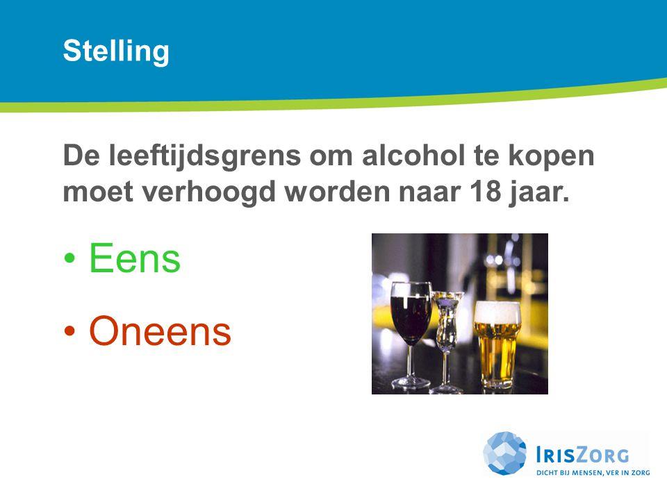 Stelling De leeftijdsgrens om alcohol te kopen moet verhoogd worden naar 18 jaar. Eens. Oneens.