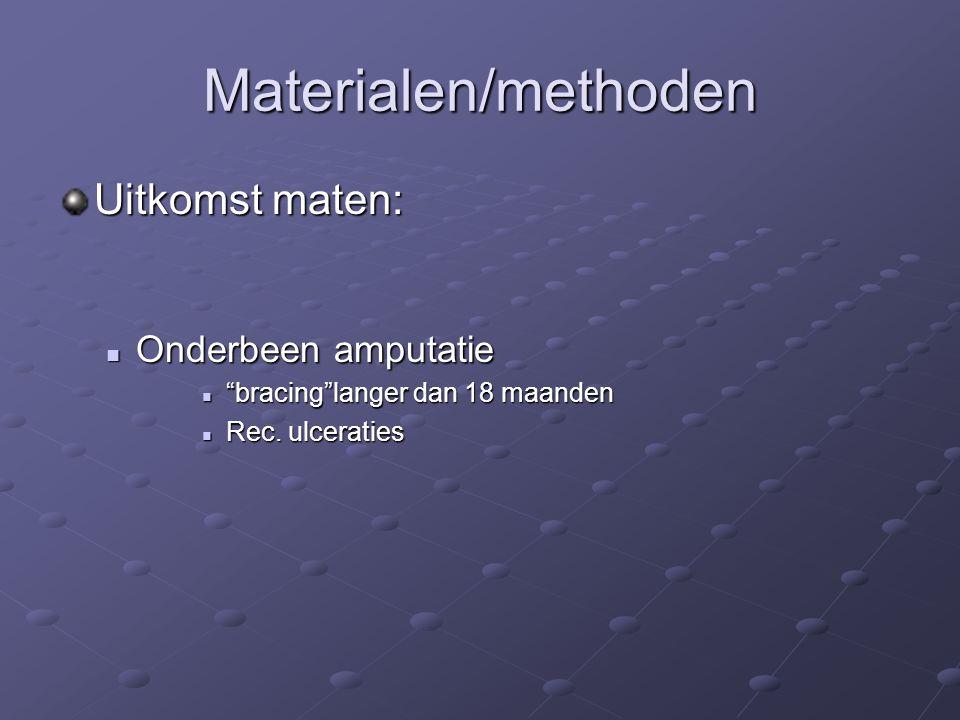 Materialen/methoden Uitkomst maten: Onderbeen amputatie