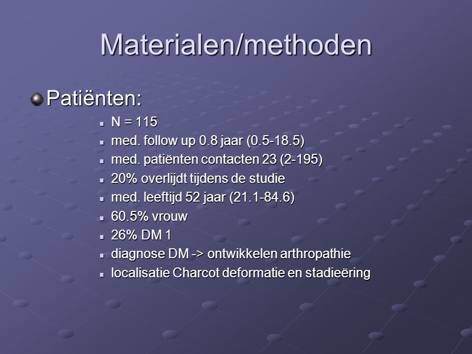 Materialen/methoden Patiënten: N = 115
