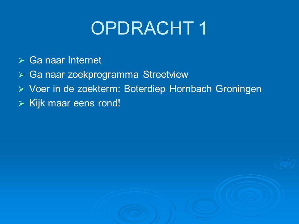 OPDRACHT 1 Ga naar Internet Ga naar zoekprogramma Streetview