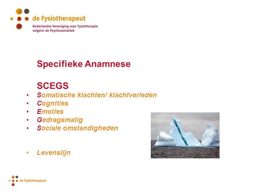 SCEGS Specifieke Anamnese Somatische klachten/ klachtverleden
