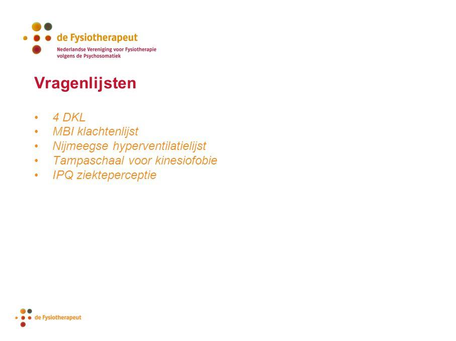 Vragenlijsten 4 DKL MBI klachtenlijst Nijmeegse hyperventilatielijst