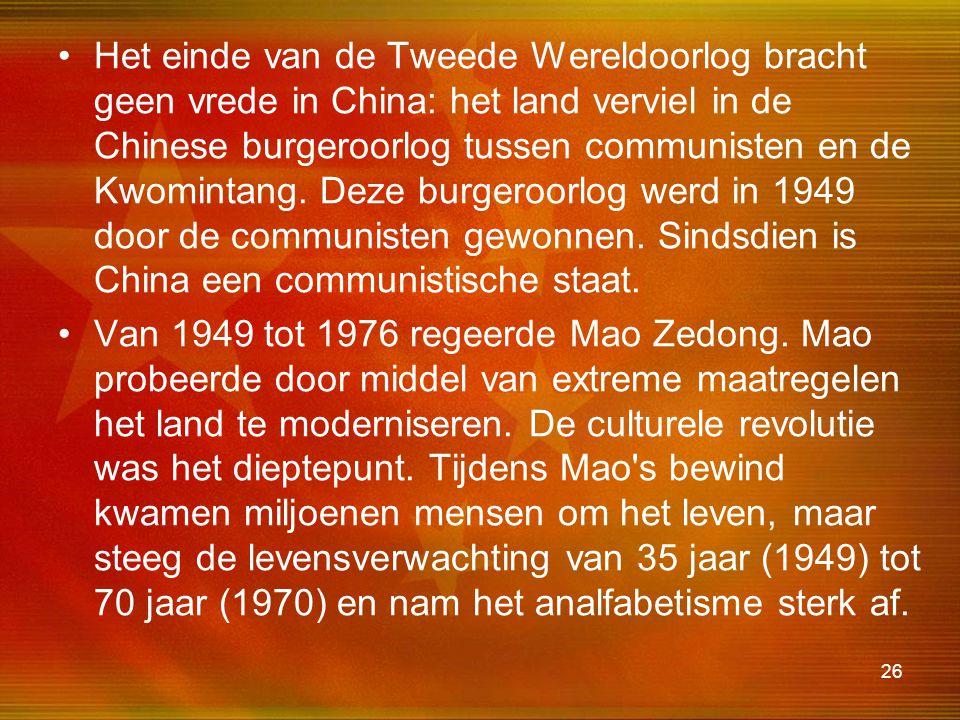 Het einde van de Tweede Wereldoorlog bracht geen vrede in China: het land verviel in de Chinese burgeroorlog tussen communisten en de Kwomintang. Deze burgeroorlog werd in 1949 door de communisten gewonnen. Sindsdien is China een communistische staat.