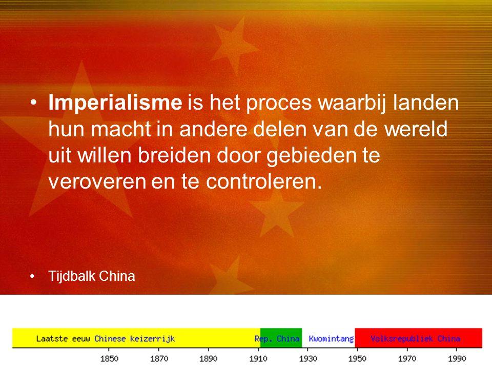 Imperialisme is het proces waarbij landen hun macht in andere delen van de wereld uit willen breiden door gebieden te veroveren en te controleren.
