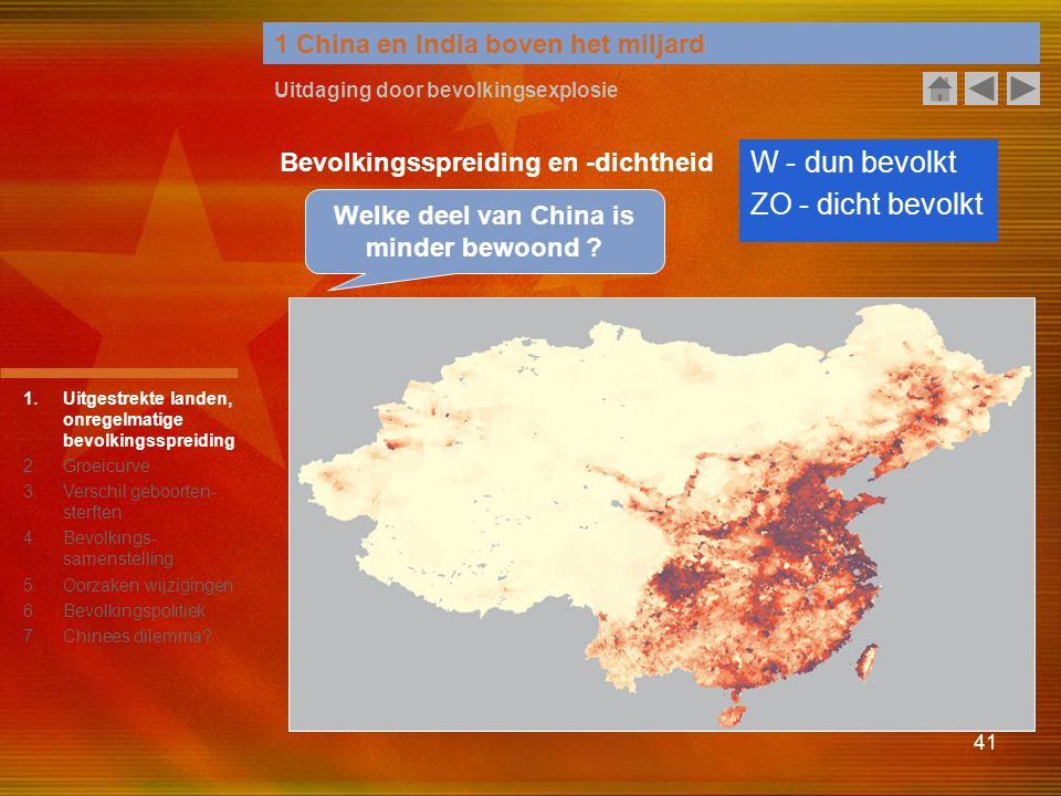 Welke deel van China is minder bewoond