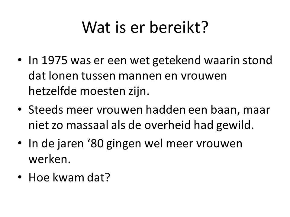 Wat is er bereikt In 1975 was er een wet getekend waarin stond dat lonen tussen mannen en vrouwen hetzelfde moesten zijn.