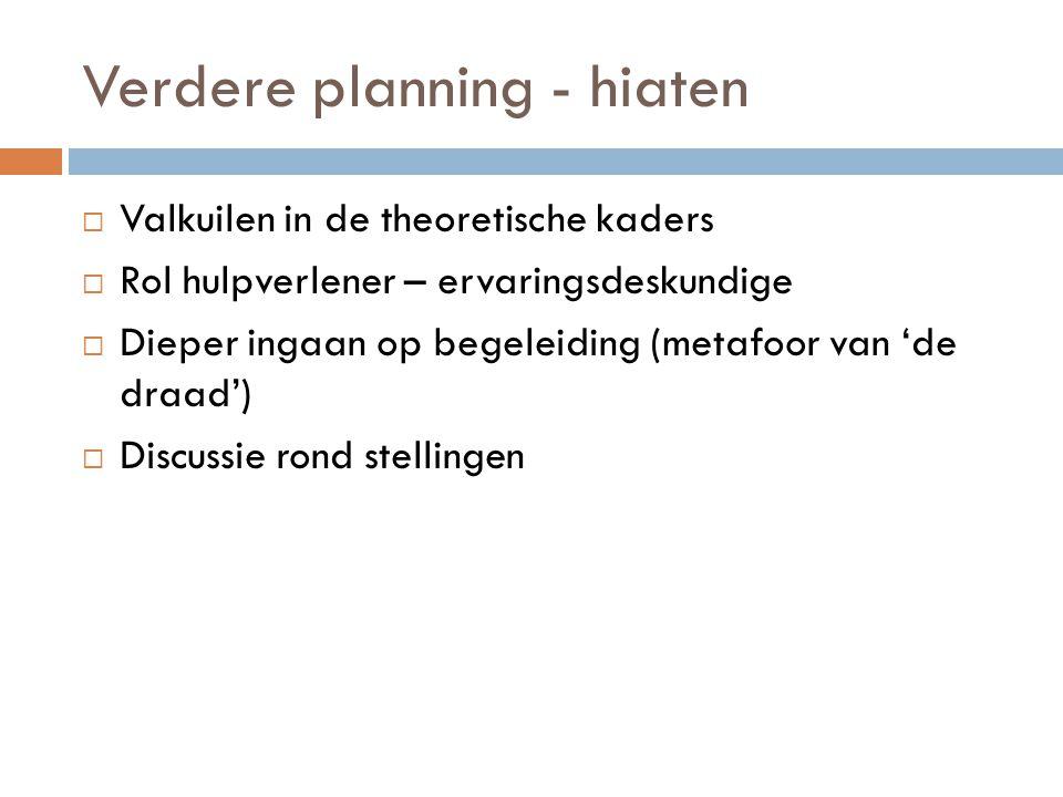 Verdere planning - hiaten