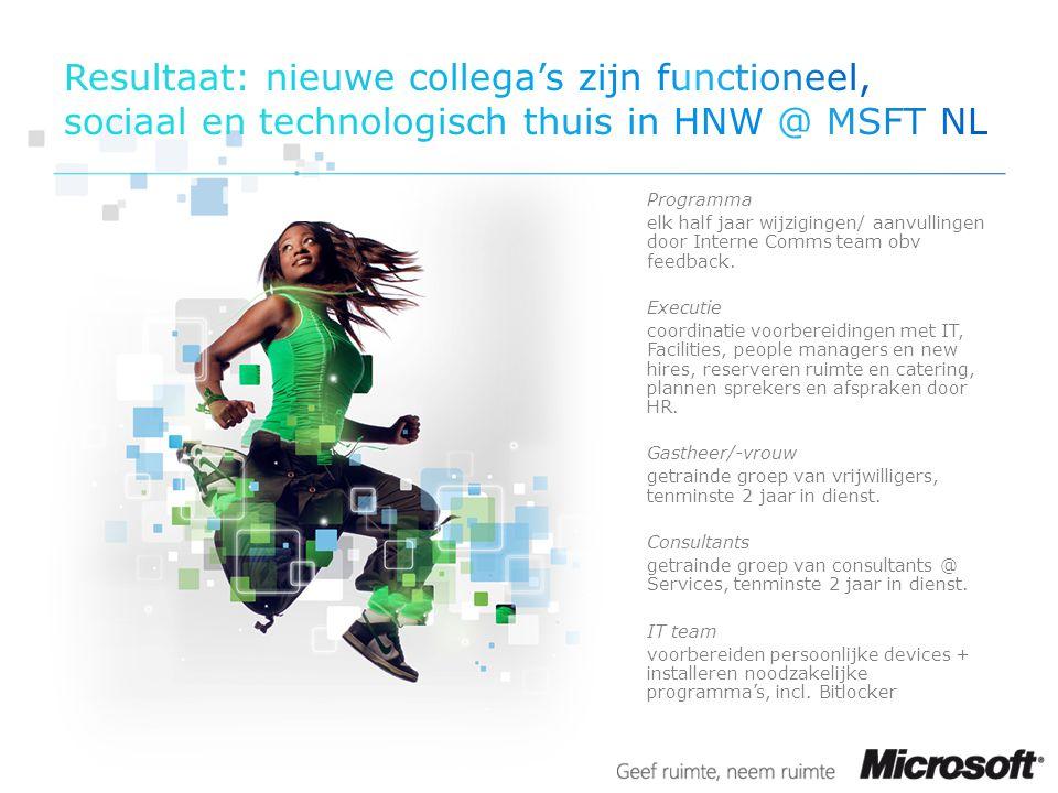 Resultaat: nieuwe collega's zijn functioneel, sociaal en technologisch thuis in HNW @ MSFT NL