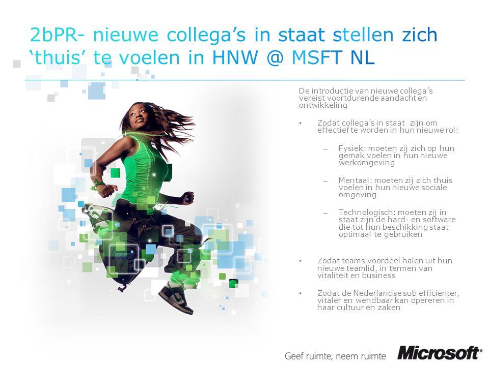 2bPR- nieuwe collega's in staat stellen zich 'thuis' te voelen in HNW @ MSFT NL