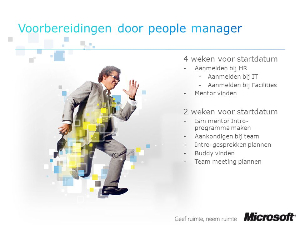 Voorbereidingen door people manager