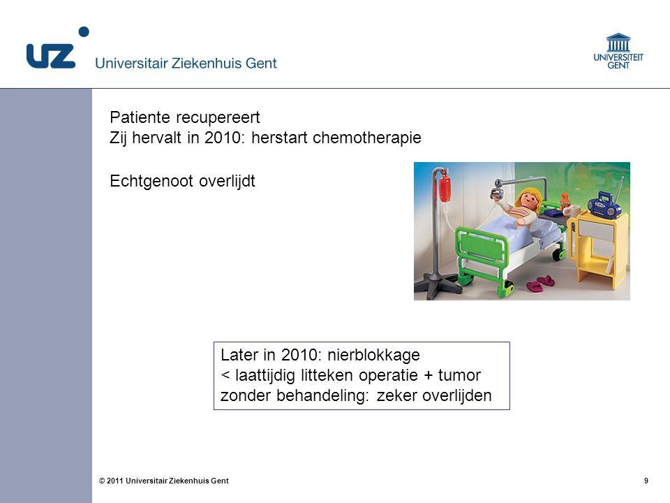 Patiente recupereert Zij hervalt in 2010: herstart chemotherapie. Echtgenoot overlijdt. Later in 2010: nierblokkage.