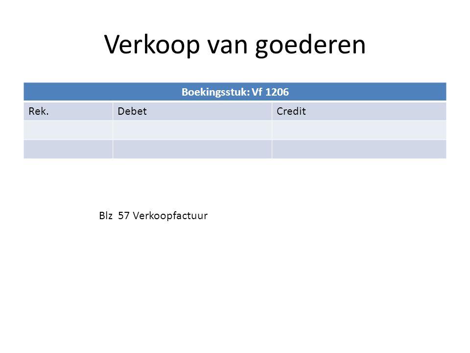 Verkoop van goederen Boekingsstuk: Vf 1206 Rek. Debet Credit