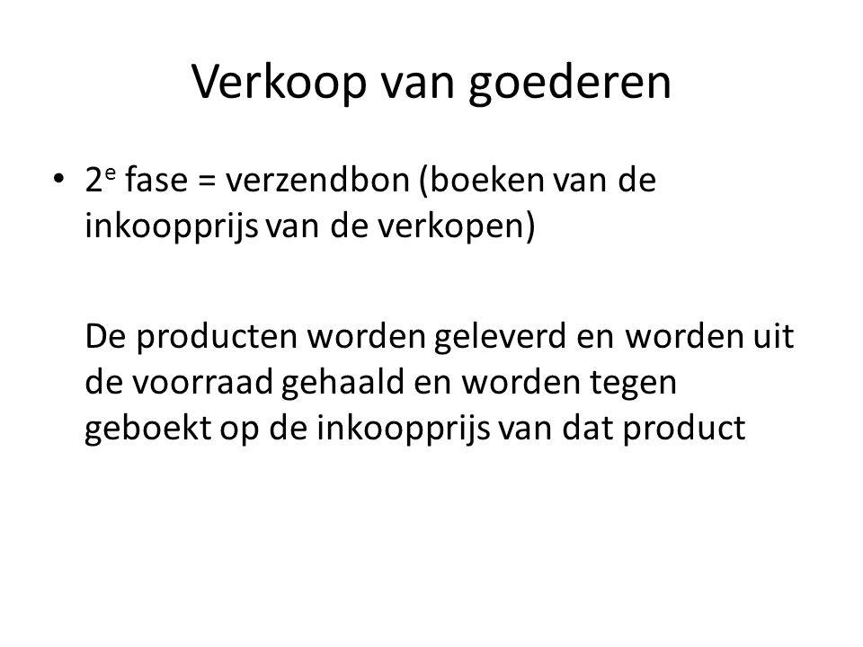 Verkoop van goederen 2e fase = verzendbon (boeken van de inkoopprijs van de verkopen)