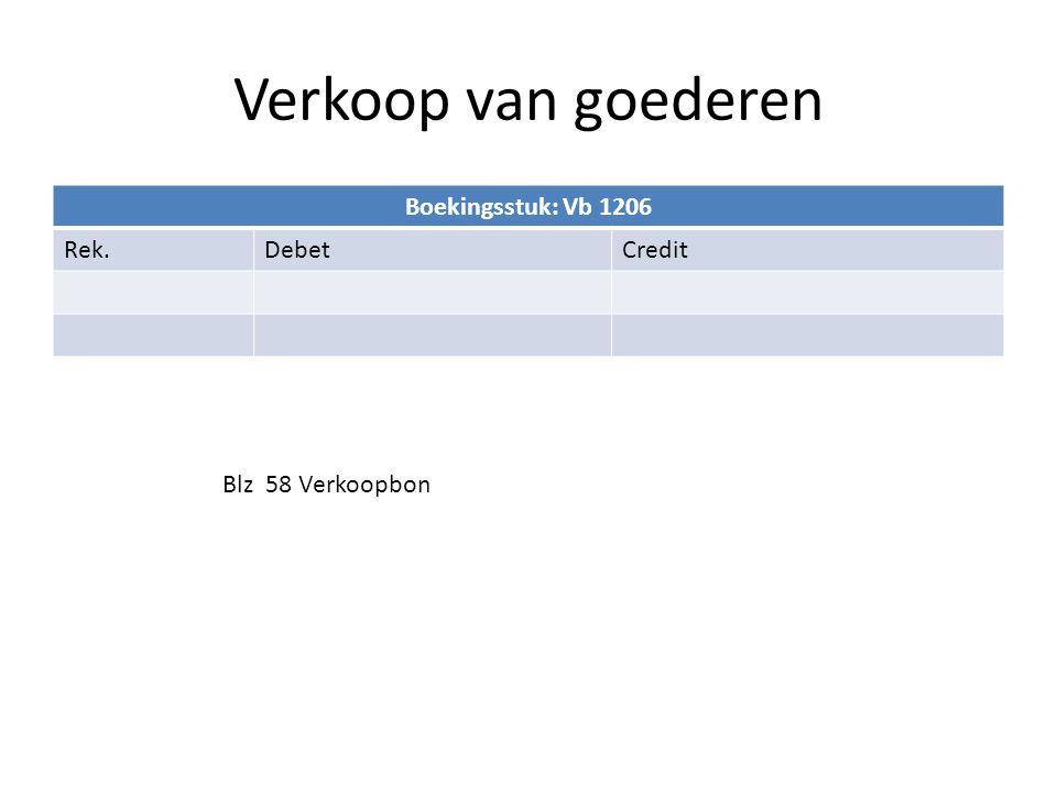 Verkoop van goederen Boekingsstuk: Vb 1206 Rek. Debet Credit
