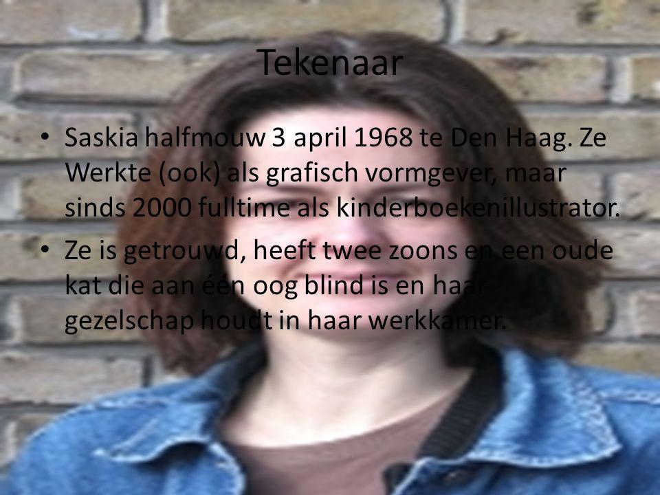 Tekenaar Saskia halfmouw 3 april 1968 te Den Haag. Ze Werkte (ook) als grafisch vormgever, maar sinds 2000 fulltime als kinderboekenillustrator.