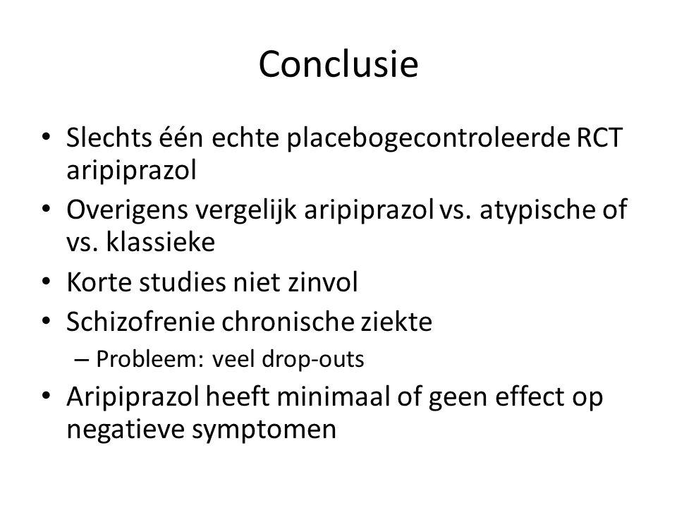 Conclusie Slechts één echte placebogecontroleerde RCT aripiprazol