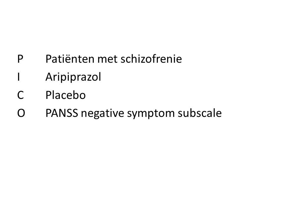 P Patiënten met schizofrenie I Aripiprazol C Placebo O PANSS negative symptom subscale