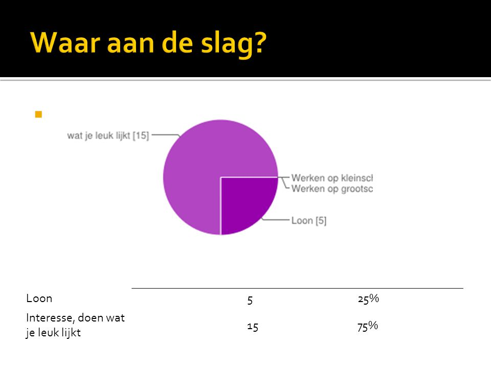 Waar aan de slag Loon 5 25% Interesse, doen wat je leuk lijkt 15 75%