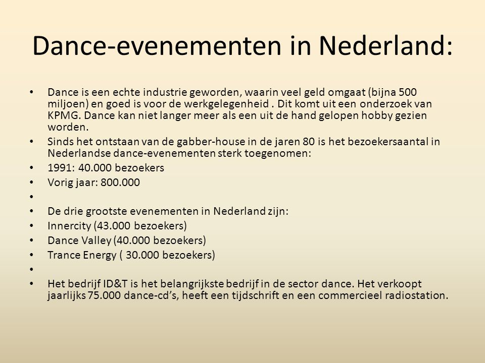 Dance-evenementen in Nederland:
