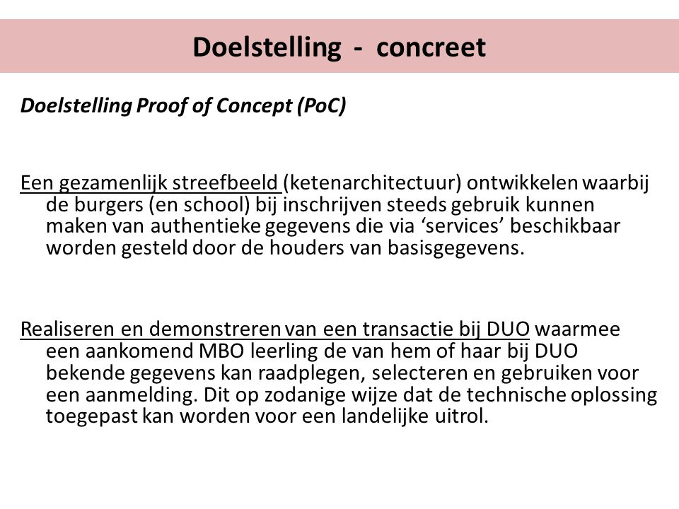 Doelstelling - concreet