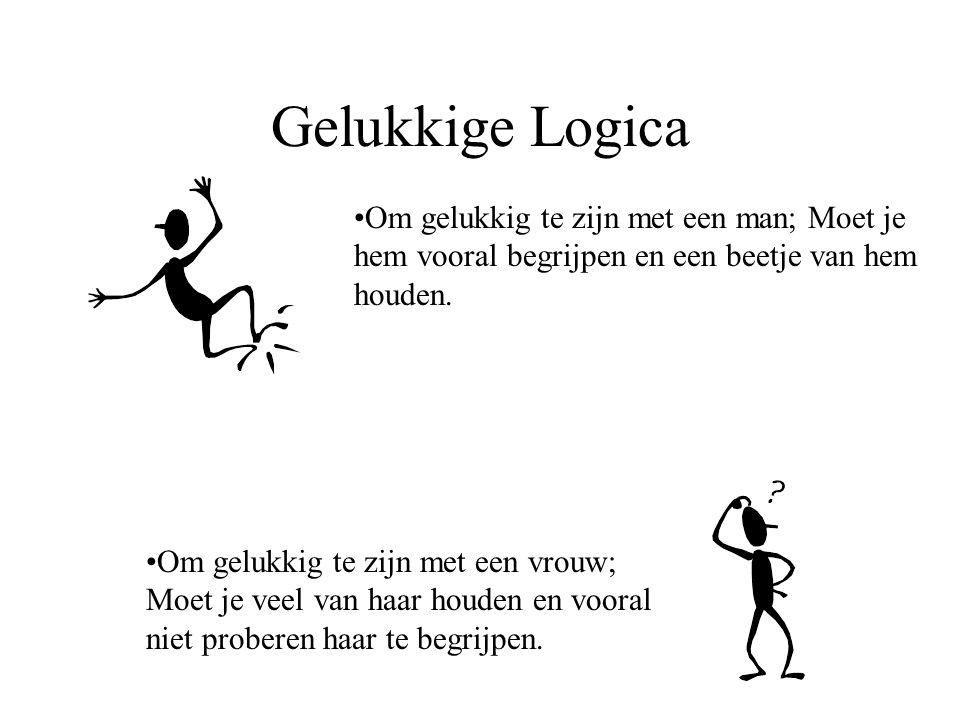 Gelukkige Logica Om gelukkig te zijn met een man; Moet je hem vooral begrijpen en een beetje van hem houden.