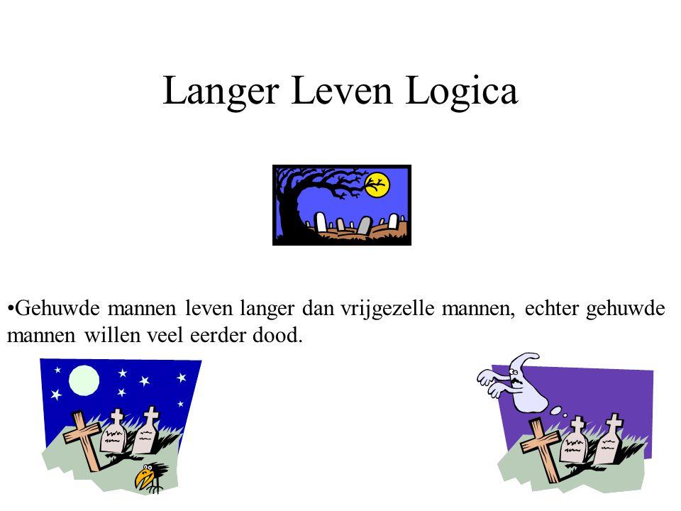 Langer Leven Logica Gehuwde mannen leven langer dan vrijgezelle mannen, echter gehuwde mannen willen veel eerder dood.