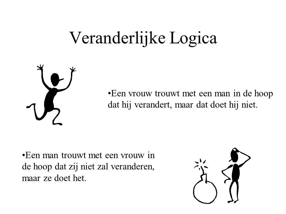 Veranderlijke Logica Een vrouw trouwt met een man in de hoop dat hij verandert, maar dat doet hij niet.
