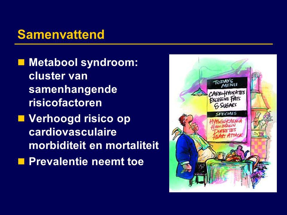 Samenvattend Metabool syndroom: cluster van samenhangende risicofactoren. Verhoogd risico op cardiovasculaire morbiditeit en mortaliteit.