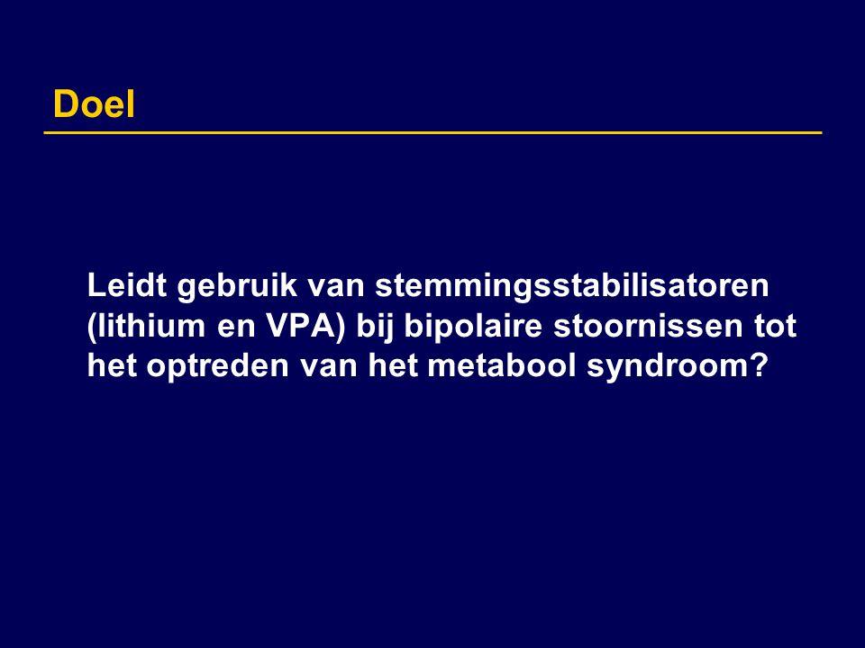 Doel Leidt gebruik van stemmingsstabilisatoren (lithium en VPA) bij bipolaire stoornissen tot het optreden van het metabool syndroom