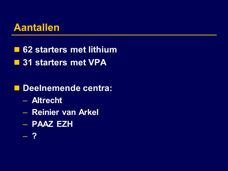 Aantallen 62 starters met lithium 31 starters met VPA
