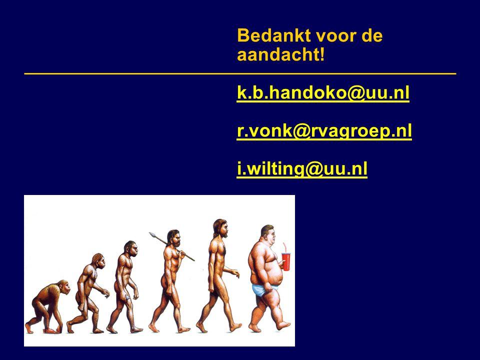 Bedankt voor de aandacht. k. b. handoko@uu. nl r. vonk@rvagroep. nl i