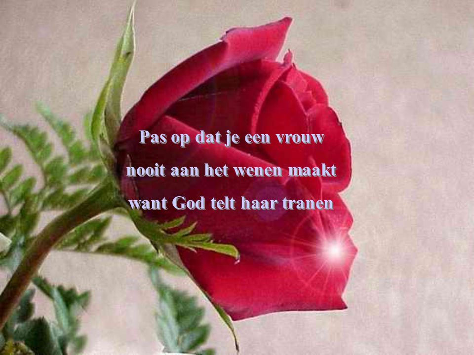 nooit aan het wenen maakt want God telt haar tranen
