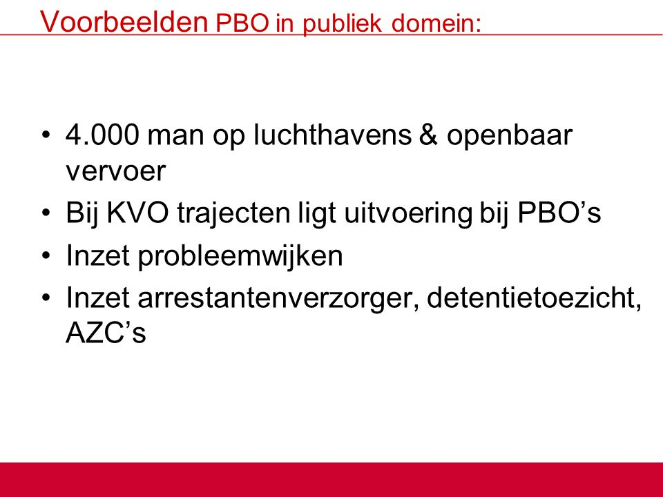 Voorbeelden PBO in publiek domein: