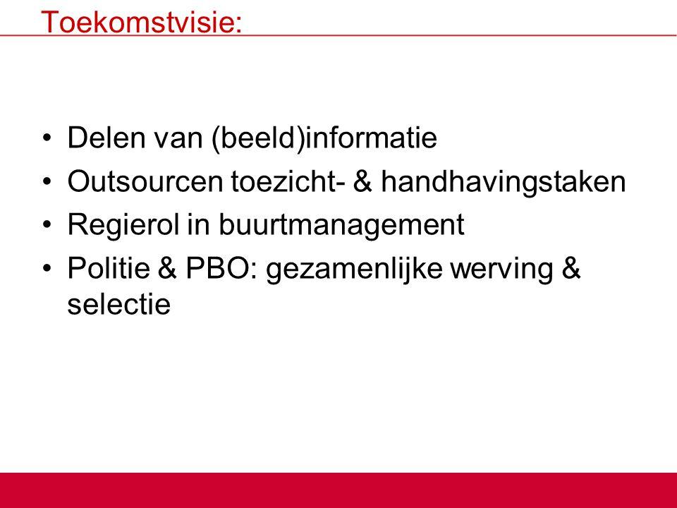 Toekomstvisie: Delen van (beeld)informatie. Outsourcen toezicht- & handhavingstaken. Regierol in buurtmanagement.